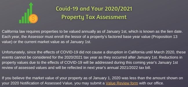 COVID-19 and your 2020-2021 Property Tax Assessment with link to Value Review